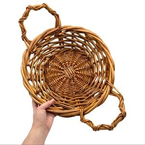 VINTAGE Round Large Wood Woven Basket with Handles